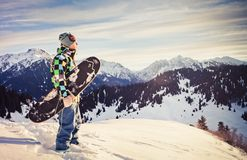 Snowboard in swiss mountain Royalty Free Stock Image