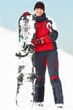 snowboard szczęśliwa kobieta zdjęcia royalty free