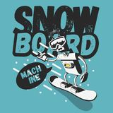 Snowboard Tee Print Design With A Robot Snowboarder Illustration. Vector Graphic Royalty Free Stock Image