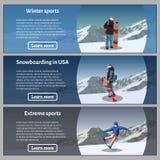 Snowboard theme banners set. Vector illustration. Stock Image