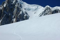 Snowboard track on the Mt Blanc Stock Photos