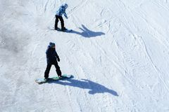 Snowboard training and park;ambitious new season royalty free stock photography