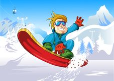 Snowboard up. Man on a snowboard jump performs complex (vector illustration Royalty Free Stock Photo