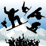 Snowboard vector. Set of snowboard and mountain vector Royalty Free Stock Image
