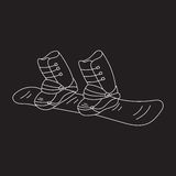 Snowboard vector line icon. Doodle sketch isolated on chalkboard. Winter sports equipment Royalty Free Stock Images