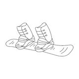 Snowboard vector line icon. Doodle sketch isolated on white background. Winter sports equipment Royalty Free Stock Photos
