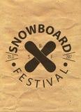 Snowboard vintage circled logotype on kraft paper background.  Royalty Free Stock Image