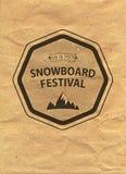 Snowboard vintage circled logotype on kraft paper background.  Stock Images