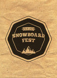 Snowboard vintage circled logotype on kraft paper background.  Royalty Free Stock Images