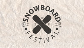 Snowboard vintage circled logotype on parchment paper background.  Royalty Free Stock Photography