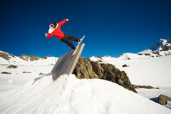 Snowboard wall ride Stock Image