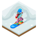 Snowboard Winter Activity Vacation Journey Flat Design Isometric 3d Vector Illustration Stock Photography