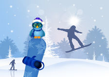 Snowboard in winter Royalty Free Stock Image