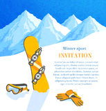 Snowboard winter invitation Stock Images