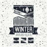 Snowboard winter mountains emblem Stock Photos
