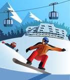 Snowboard winter resort. Snowboard winter montain resort a Stock Photography