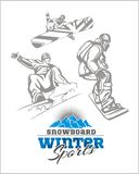 Snowboard - winter sport. Vector stock Royalty Free Stock Images
