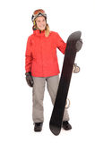 Snowboard, woman. Woman with snowboard ready for action Royalty Free Stock Photo