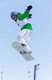 Snowboard woman extreme fly Stock Image
