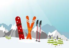 Snowboard y esquí en Ski Mountain Resort fotos de archivo libres de regalías