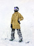 Snowboarder в горах Стоковое Изображение