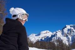 snowboarder женщины доломитов Стоковые Изображения