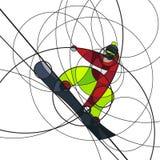 Snowboarder скача, абстрактное изображение Стоковое фото RF