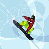 Snowboarder скача, абстрактное изображение Стоковые Фото