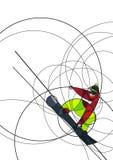 Snowboarder скача, абстрактное изображение Стоковое Изображение RF