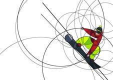 Snowboarder скача, абстрактное изображение Стоковая Фотография