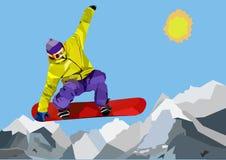 Snowboarder скача в горы Стоковые Изображения