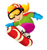 Snowboarder шаржа - мальчик иллюстрация вектора