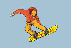 Snowboarder,. The sportsman flying on a board in a high jump vector illustration