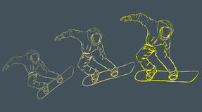Snowboarder. The sportsman flying on a board in a high jump royalty free illustration