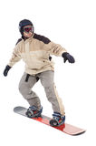 Snowboarder. Fly isolated simulating that this in the snow Royalty Free Stock Photos