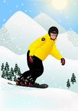 Snowboarder. Illustration of snowboarder on sunny winter day Royalty Free Stock Photos