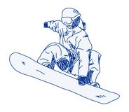Snowboarder. Scribbled illustration of a snowboarder Stock Images
