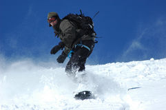Snowboarder. On the Mt Blanc following a heavy snow fall over-night Stock Images