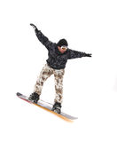 Snowboarder. Isolated snowboarder, white background, man, jump Royalty Free Stock Images
