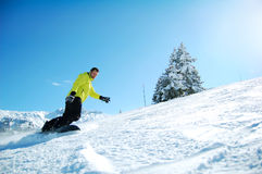 Snowboarder in Actie Royalty-vrije Stock Afbeelding