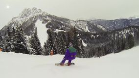 Snowboarder action stock footage