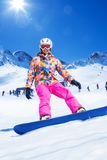 Snowboarder in action Stock Photography