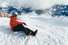 Snowboarder admiring the stunning view Royalty Free Stock Photography