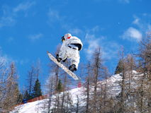 Snowboarder in the air Royalty Free Stock Images