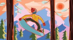 Snowboarder alla foresta Fotografia Stock Libera da Diritti