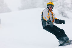 Snowboarder in the alps Stock Images