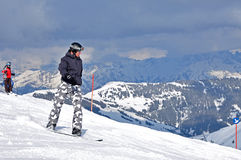 Snowboarder in the Alps Stock Photo