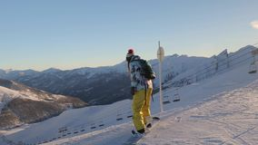 Snowboarder in the Alps stock video
