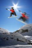 Snowboarder in alta montagna Immagini Stock Libere da Diritti