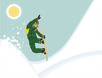 Snowboarder arial shot Royalty Free Stock Photo